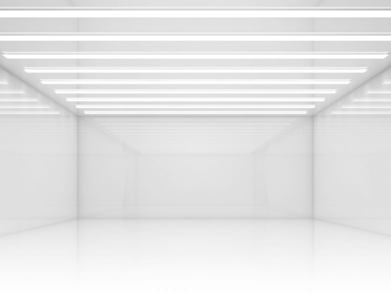 Empty white room with stripes of ceiling lights. Contemporary architecture background. 3d render illustration